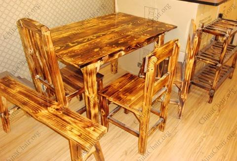 快餐厅桌椅 实木快餐台