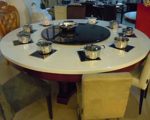 电磁炉火锅桌 大理石火锅桌 石英石火锅桌